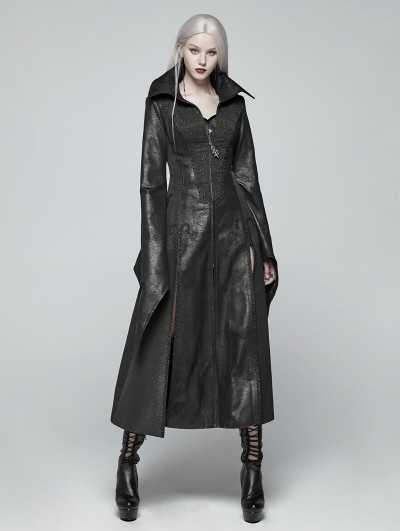 Punk Rave Black Gothic Judge Witch Long Coat for Women