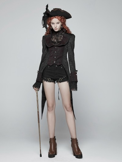 Punk Rave Gothic Vintage Swallow Tail Pirate Jacket for Women
