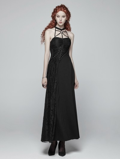 Punk Rave Black Gothic Halter Daily Wear Long Dress