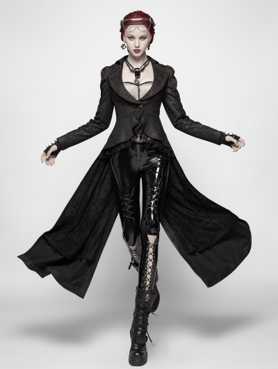 Punk Rave Black Gothic Dark High-Low Coat for Women