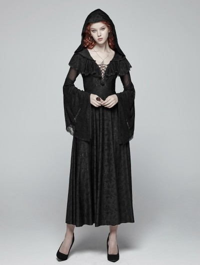 Punk Rave Black Gothic Lace Hooded Witch Dress