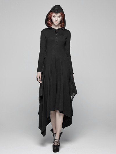Punk Rave Black Gothic Bat Wing Hooded Long Dress