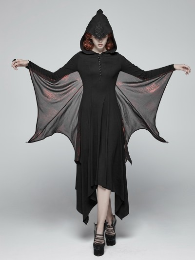 Punk Rave Black and Red Gothic Bat Wing Hooded Long Dress