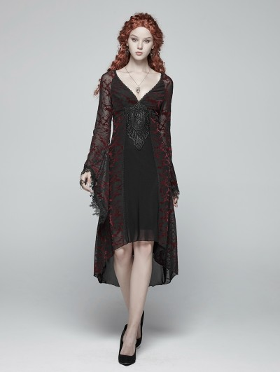 Punk Rave Red Gothic Goddess Classical Mid-length Dress
