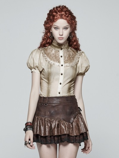 Punk Rave Iovry Steampunk Short Puff Sleeve Shirt for Women