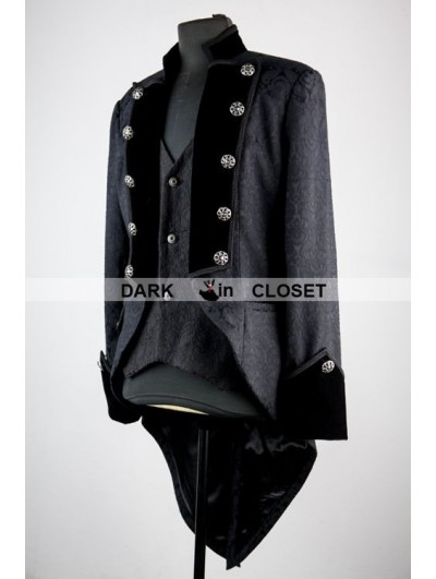 Pentagramme Black Pattern Double Breasted Tuxedo Style Gothic Jacket for Men