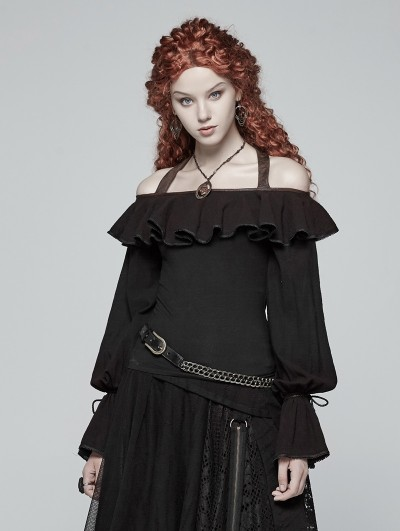 Punk Rave Black Steampunk Off-the-Shoulder Ruffles Long Sleeve T-Shirt for Women