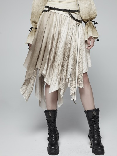 Punk Rave Iovry Steampunk Asymmetric Half Skirt