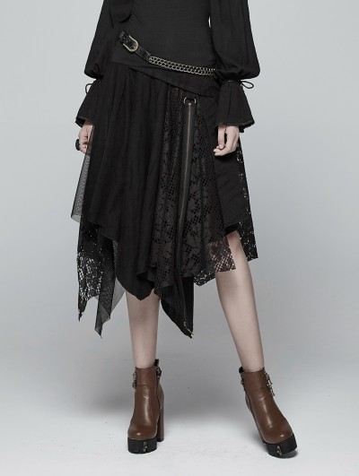 Punk Rave Black Steampunk Asymmetric Half Skirt