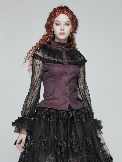 Punk Rave Red Steampunk Lace Long Sleeves Shirt for Women