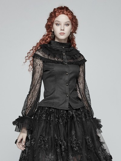 Punk Rave Black Steampunk Lace Long Sleeves Shirt for Women