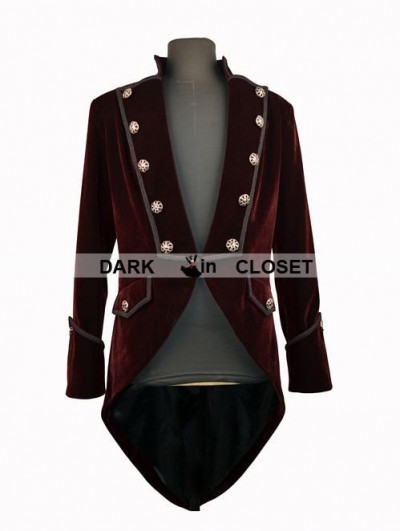 Pentagramme Red Double Breasted Tuxedo Style Gothic Jacket for Men