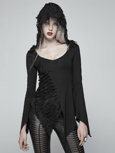 Punk Rave Gothic Dark Hooded Asymmetric Long Sleeve T-shirt for Women