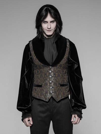 Punk Rave Gothic Dark Gold Jacquard Vest for Men