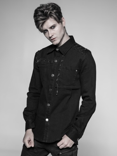 Punk Rave Black Gothic Punk Long Sleeve Shirt for Men