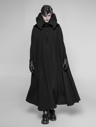 Punk Rave Black Gothic Vampire Count Long Cloak for Men