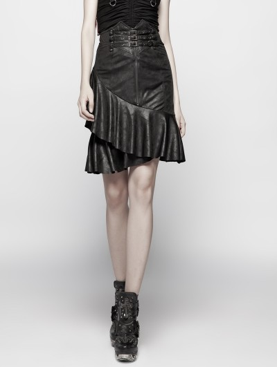 Punk Rave Black Gothic Punk High Waist Stretch Half Skirt