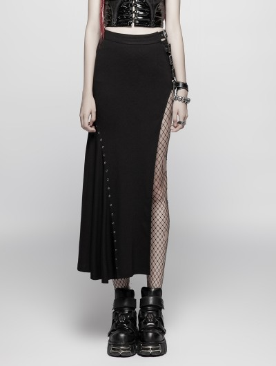 Punk Rave Black Gothic Punk Sexy Slim Fit Half Skirt