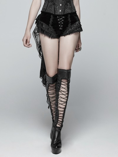 Punk Rave Black Gothic Swallow Tail Dress Shorts for Women