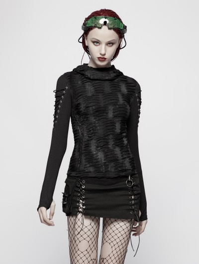 Punk Rave Black Gothic Hole Hooded T-Shirt for Women