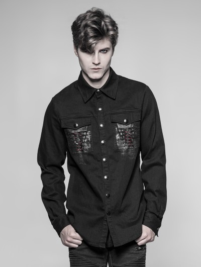 Punk Rave Black Gothic Punk Keel Pattern Shirt for Men
