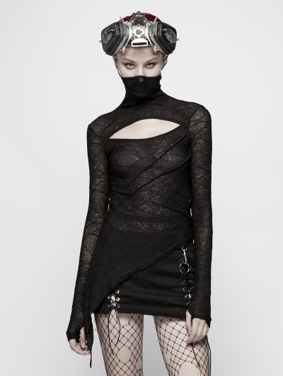 Punk Rave Black Gothic Slim Punk Long Sleeves T-Shirt for Women