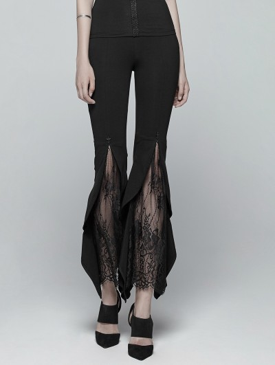 Punk Rave Black Gothic Flared Lace Legging Pants for Women
