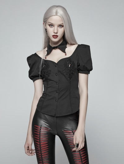 Punk Rave Black Gothic Sexy Short Sleeve Shirt for Women