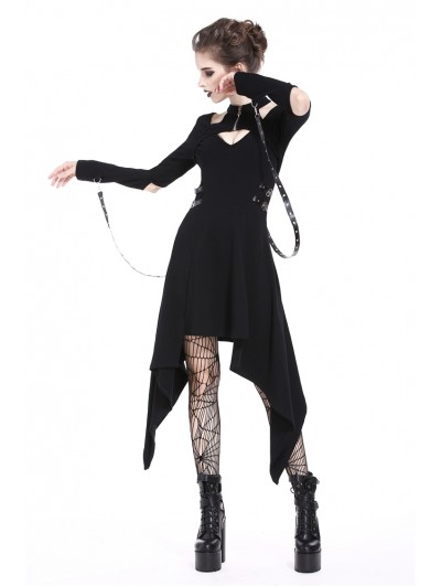 Dark in Love Black Gothic Punk Metal Belt Asymmetric Dress