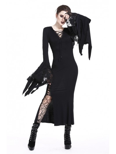 Dark in Love Black Sexy Gothic Witch Hooded Long Dress