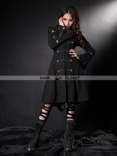 Pentagramme Black Double Breasted Gothic Coat for Women