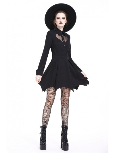 Dark in Love Black Gothic Heart Long Sleeve Short Dress
