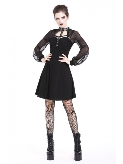 Dark in Love Black Gothic Punk Harness Short Dress