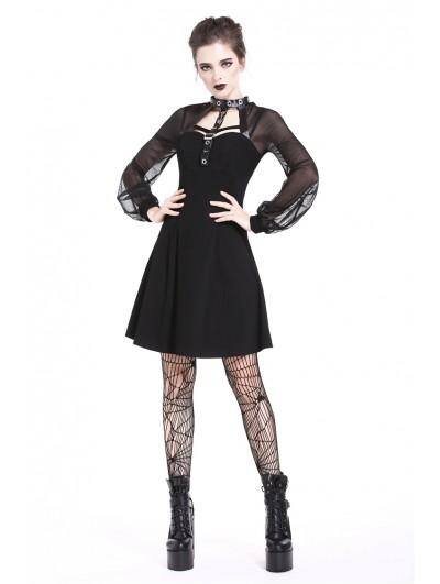 Dark in Love Black Gothic Punk Harness Short Dress