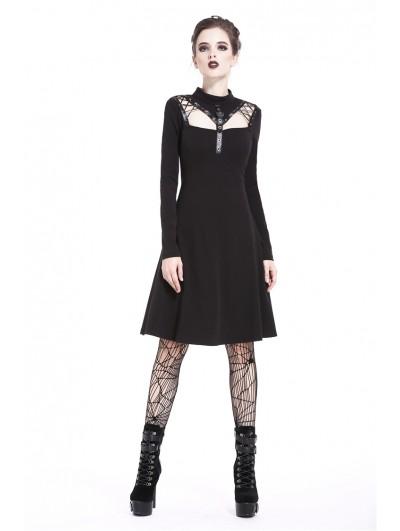 Dark in Love Black Gothic Punk Long Sleeve Dress