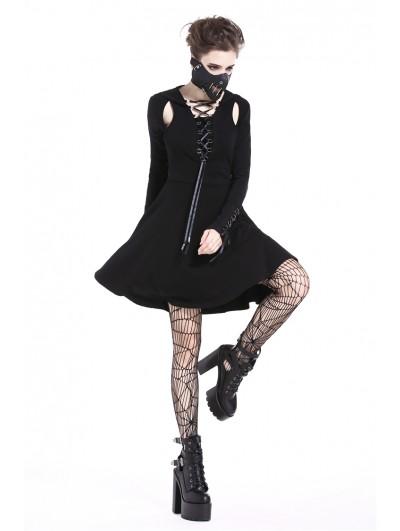 Dark in Love Black Gothic Punk Hooded Short Street Dress