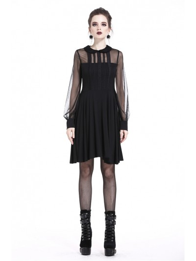 Dark in Love Black Gothic Mesh A-Line Short Dress