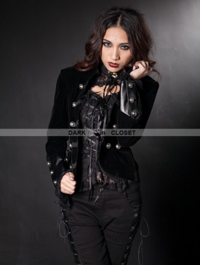 Pentagramme Black Double Breasted Gothic Short Jacket for Women