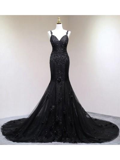 Black Gothic Beading Mermaid Wedding Dress Darkincloset Com