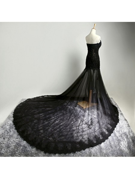 4efe910cccf24 Black Gothic Lace Mermaid Wedding Dress - DarkinCloset.com