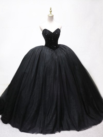 Black Gothic Beading Ball Gown Wedding Dress