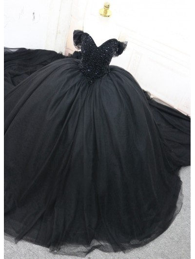 Black Gothic Beading Off-the-Shoulder Ball Gown Wedding Dress