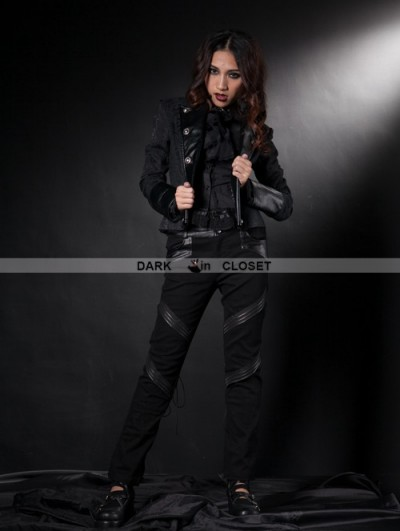 Pentagramme Black Leather Double Breasted Gothic Short Jacket for Women