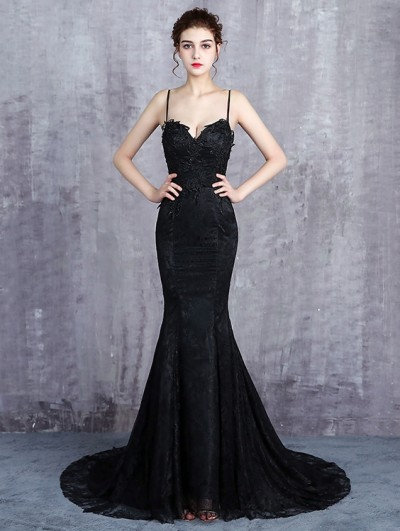Black Gothic Spaghetti Straps Lace Mermaid Wedding Dress