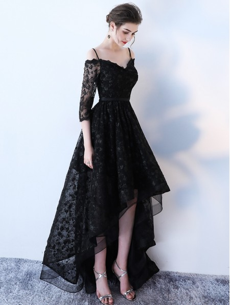 Black Gothic Lace High Low Wedding Dress Darkincloset Com