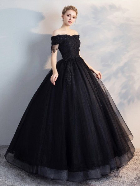 c153fe5248 Black Gothic Lace Ball Gown Wedding Dress - DarkinCloset.com