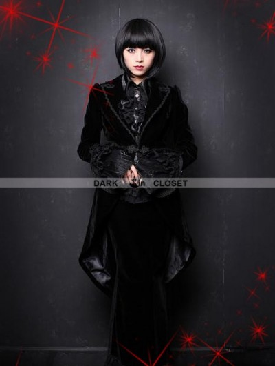 Pentagramme Black Velvet Gothic Swallow-Tailed Coat for Women