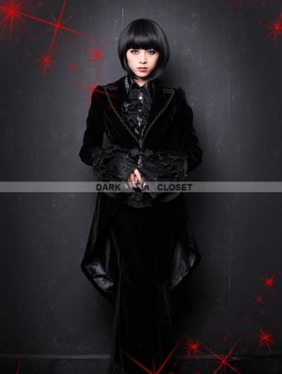 Pentagramme Black Velvet Gothic Swallow-Tailed Coat for Women