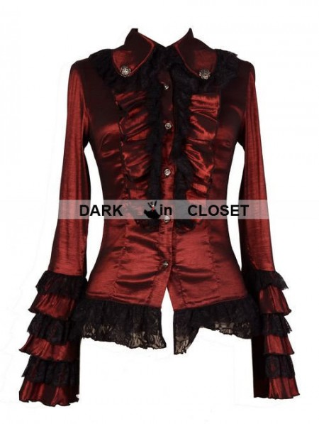 Pentagramme Wine Red Long Sleeves Ruffle Gothic Blouse For