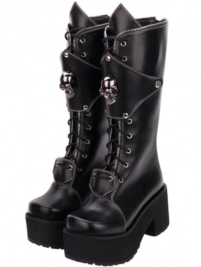 Black Gothic Punk Skull Zipper Platform Boots for Women